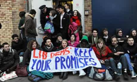student protesters outside simon hughes office