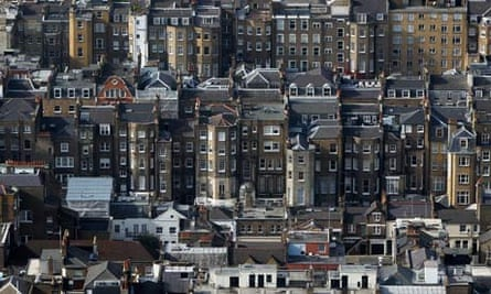 aeriel shot of houses and flats in central london