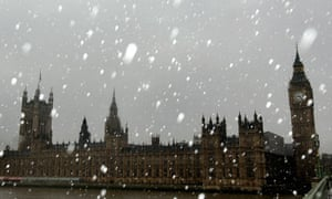 Snow falls on the House of Commons