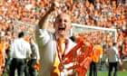 Blackpool's manager Ian Holloway celebra