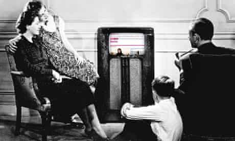 modified image of family listening to radio