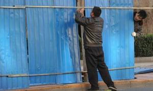 fence outside Liu Xiaobo apartment