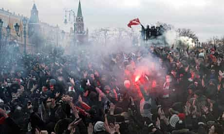 Football fans and right wing protesters rally in central Moscow