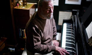 Stephen Sondheim at the piano in his apartment