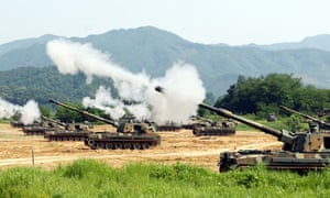 south korean tanks fire during military exercise