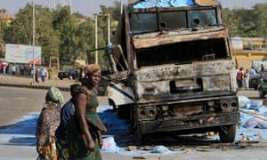 burnt truck in Nigeria's central city of Jos