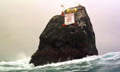 Greenpeace activists occupying the remote island o