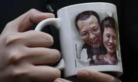 Mug featuring image of jailed Chinese dissident Liu Xiaobo and his wife Liu Xia