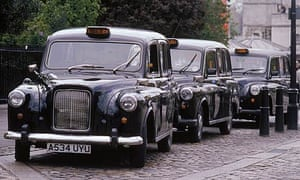 Black taxi cab rank in London