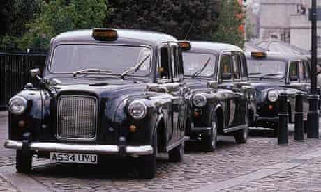 Black taxi cab rank in London
