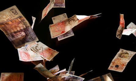 Banknotes in the air