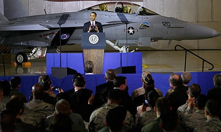Obama Gives Speech At Joint Base Andrews Naval Air Facility