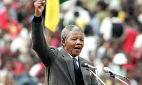 Nelson Mandela, Soweto Soccer City stadium, February 1990.
