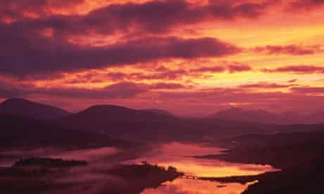 Sunset over loch in western highlands