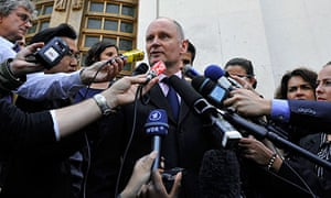 Christophe Girard, deputy Paris mayor, gives a press conference outside the Musee d'Art Moderne.