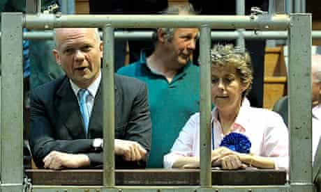 William Hague visits a cattle auction in Thirsk, North Yorkshire.