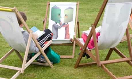 children in deckchairs, hay festival 2009