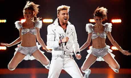 Miro from Bulgaria performs during a dress rehearsal for the Eurovision song contest in Oslo