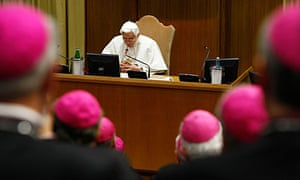 Pope Benedict XVI deliver a speech at the conference of Italian bishops at the Vatican.