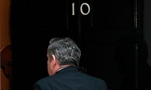 Gordon Brown arrives back at 10 Downing Street as the country looked set for a hung parliament.