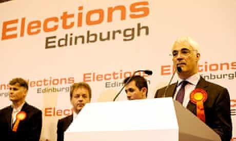 Alistair Darling speaks after retaining his seat in Edinburgh South-West.