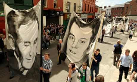 Banners depicting the victims of the Bloody Sunday shootings