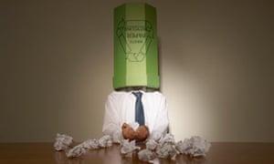 man with bin on his head