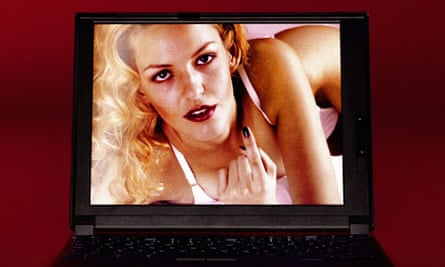 Laptop showing image of woman in underwear beckoning