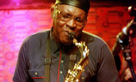 Fred Anderson plays his tenor saxophone during a performance at his club, The Velvet Lounge.