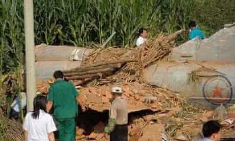 North Korean military aircraft crash in China