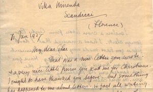 section of a letter written by DH Lawrence