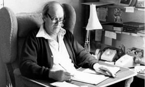 Roald Dahl writing at home