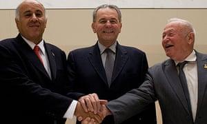 Jibril Rajoub, Jacques Rogge, Zvi Varshaviak