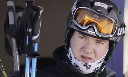 George Osborne and family on a skiing holiday