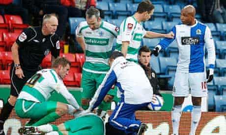 Blackburn Rovers' Diouf gestures