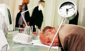 sleeping office worker