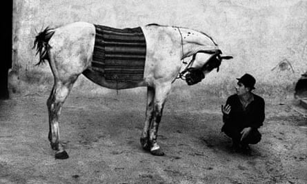 Josef Koudelka's photograph of a man with a horse in Romania, 1968