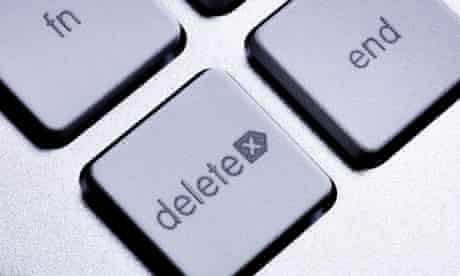 The 'delete' and 'end' buttons on a computer keypad