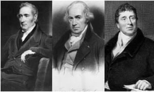 (a) George Stephenson, (b) James Watt, and (c) ­Thomas Telford
