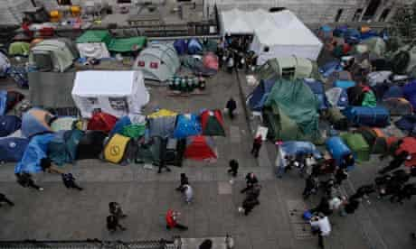 Protesters' tents stand outside St Paul's Cathedral