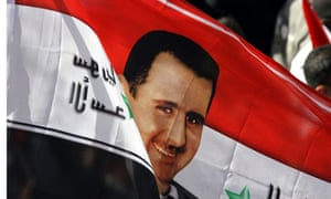 syria flag with bashar al-assad photo