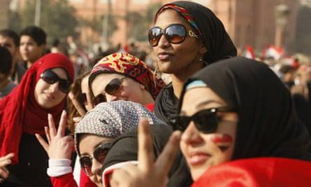 Egyptian women in Tahrir Aquare, February 2011