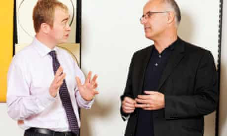 Neal Lawson (left) and Tim Farron discuss changes to party funding.