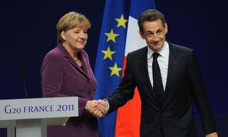 Angela Merkel and Nicolas Sarkozy in Cannes