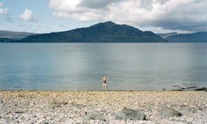 Susie Parr about to swim in a loch on the island of Raasay, Scotland, 2009.