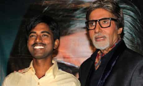 Sushil Kumar, left, with Bollywood actor Amitabh Bachchan