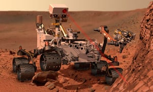 An artist's impression of Curiosity, Nasa's Mars-bound science lab, as it analyses Martian rock.