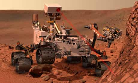 Anartist's impression of Curiosity, Nasa's Mars-bound science lab, as it analyses Martian rock.