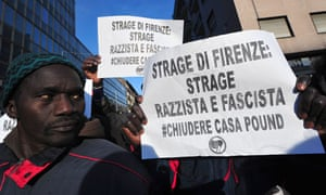 Marchers protesting about the killings of two Senegalese men in Florence