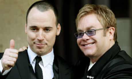 Pop star Elton John and partner David Furnish